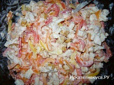 салат из капченой курицы простой рецепт